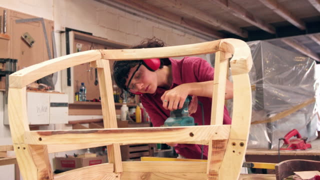 showing her skill in furniture design - furniture stock videos & royalty-free footage