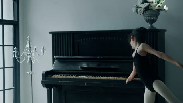 showing of cute ballet girl with piano - piano stock videos & royalty-free footage