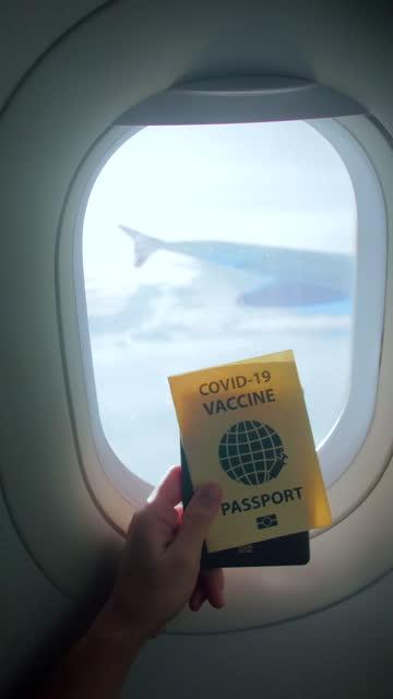 vídeos de stock, filmes e b-roll de mostrando passaporte de vacina durante a bordo - identidade
