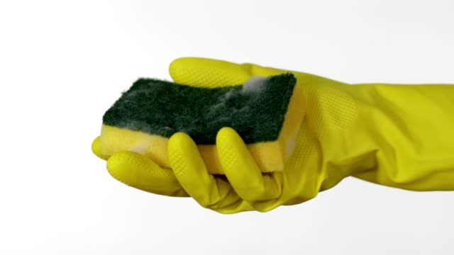 showing wet kitchen sponge - cleaning sponge stock videos & royalty-free footage