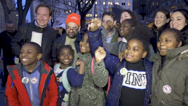stockvideo's en b-roll-footage met shown here are students from the achievement first brownsville charter elementary school several hundred gathered at 42nd street times square for the... - procureur generaal