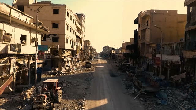 shows aerial drone shots across destroyed buildings and neighbourhoods with streets filled with rubble and debris after raqqa was liberated from isis... - syrien stock-videos und b-roll-filmmaterial