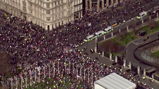 Shows aerial shots Brexit Leave supporters gathering outside the Houses of Parliament to protest Brexit delay While MPs were debating the Prime...