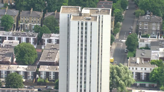 shows aerial shots chalcots estate tower block in london showing high rise tower blocks with unsafe cladding on the outside about 600 highrise... - blocking stock videos and b-roll footage