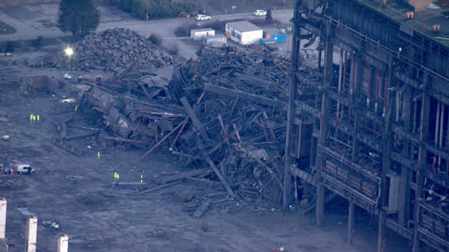 shows aerial shots collapsed building at disused didcot power station including emergency services on site exterior press briefing soundbites nathan... - didcot stock videos and b-roll footage