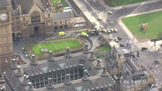 Shows aerial shots emergency service vehicles and personnel at scene of terror attack with pan across Westminster Bridge past the Houses of...