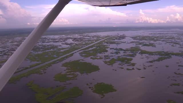 shows aerial shots flying across remaining land of the isla de jean charles bayou area of louisiana usa on august 29 2016 in new orleans louisiana - louisiana video stock e b–roll