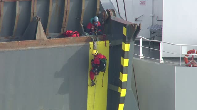shows aerial shots greenpeace activists climbing up ramp at rear of cargo ship vehicle carrier elbe highway at sea. protesters from greenpeace have... - greenpeace stock videos & royalty-free footage