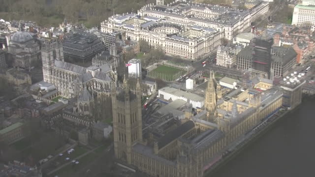 shows aerial shots houses of parliament in westminster on budget day and scaffolding as restoration work takes place, on 11th march, 2020 in london,... - scaffolding stock videos & royalty-free footage