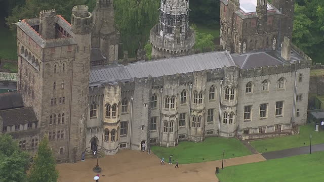 shows aerial shots of cardiff castle on august 29, 2014 in cardiff, wales. - cardiff wales stock videos & royalty-free footage