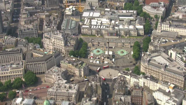 Shows aerial shots pan across rooftops of central London on sunny day on 21st June 2017 in London England