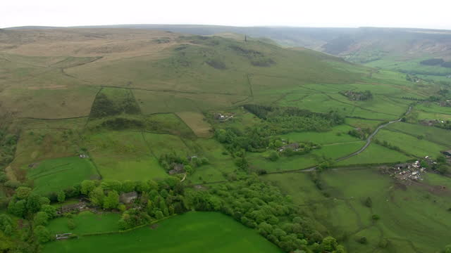 Shows aerial shots panning across village and up over Saddleworth Moor Ian Brady one of the most notorious criminals in British history has died at...