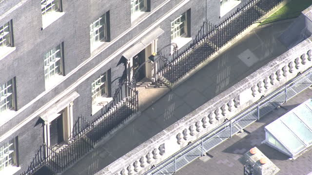 Shows aerial shots panning round Number 10 Downing Street in Westminster UK Prime Minister Theresa May has called for a snap election on June 8th...
