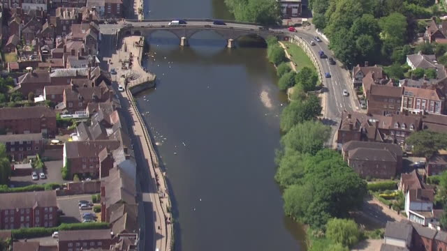shows aerial shots tracking along the river servern through bewdley in worcestershire. the met office today confirmed may was the driest ever on... - river stock videos & royalty-free footage