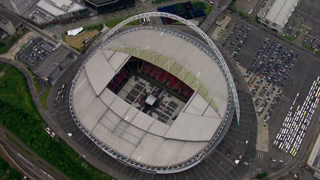 shows aerials shots of the london eye on may 30 2014 in wembley england - wembley stock-videos und b-roll-filmmaterial