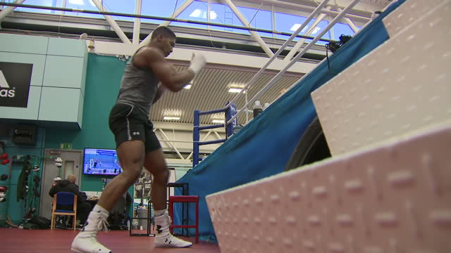 Shows British professional boxer Anthony Joshua during training session at English Institute of Sport Sheffield on October 6th 2017