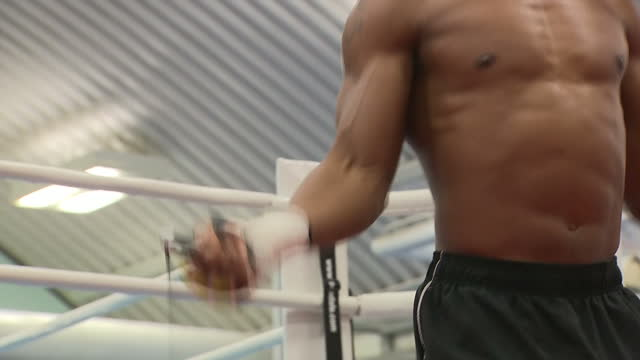 Shows British professional boxer Anthony Joshua during training session including using jump rope at English Institute of Sport Sheffield on October...