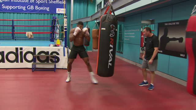Shows British professional boxer Anthony Joshua during training session with his coach Rob McCracken at English Institute of Sport Sheffield on...