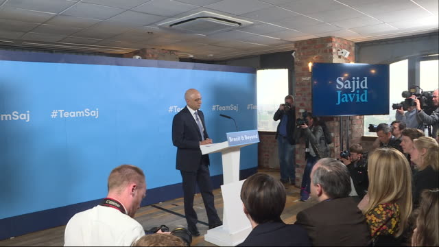 shows cutaways from home secretary sajid javid's conservative party leadership campaign launch speech on june 12 2019 in london england - sajid javid stock videos & royalty-free footage