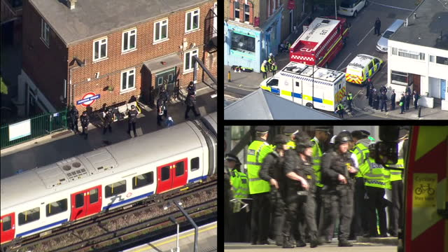 shows exterior and aerial shots police and emergency services at scene of parsons green tube explosion terror attack. interview with former counter... - terrorism stock videos & royalty-free footage