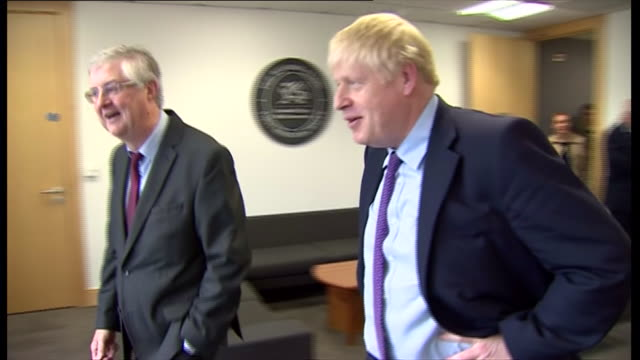 shows exterior and interior shots british prime minister boris johnson mp visiting a chicken farm the brecon constituency and the welsh national... - prime minister of the united kingdom stock videos and b-roll footage