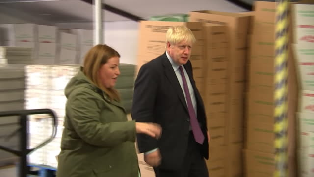 shows exterior and interior shots british prime minister boris johnson mp being given tour of chicken farm and egg packing factory in wales yesterday... - prime minister of the united kingdom stock videos and b-roll footage