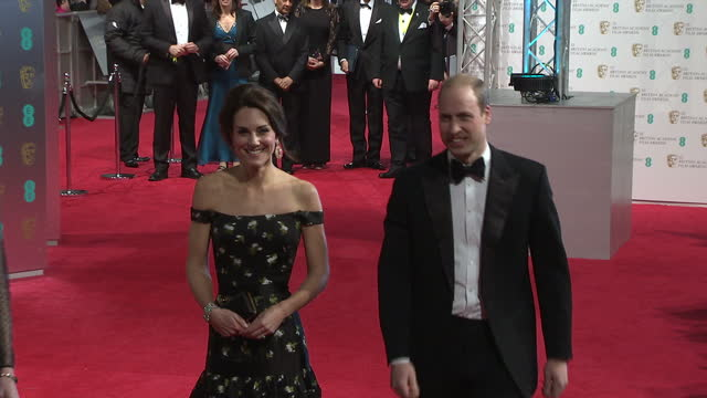 Shows exterior and interior shots Prince William Duke of Cambridge and Catherine Duchess of Cambridge arriving for the BAFTA Film Awards Ceremony on...
