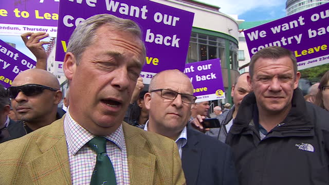 shows exterior interview soundbite with ukip leader and 'out' campaigner nigel farage on migrants and people smuggling into uk from europe ukip... - referendum stock videos & royalty-free footage