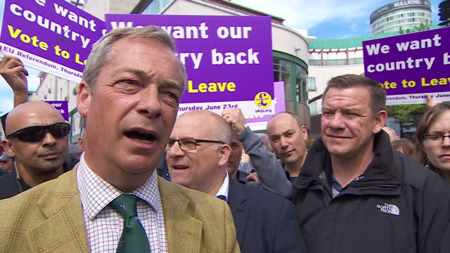 shows exterior interview soundbite with ukip leader and 'out' campaigner nigel farage onsmall and medium sized business and eu ukip leader nigel... - nigel farage stock-videos und b-roll-filmmaterial