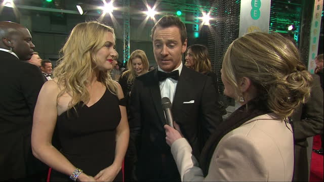 shows exterior interview with actress kate winslet and actor michael fassbender on his nomination and leonardo dicaprio. the 2016 baftas film awards... - kate winslet stock videos & royalty-free footage