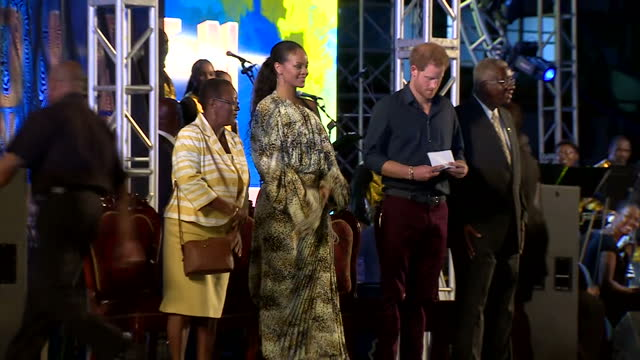 shows exterior night shots prince harry arriving at 50th anniversary of independence event in barbados exterior shots prince harry and barbadian... - 2016 stock-videos und b-roll-filmmaterial