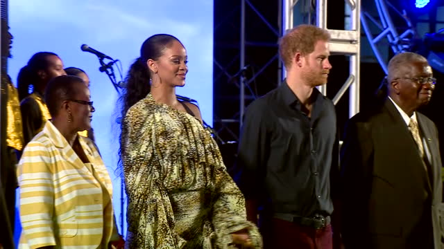 shows exterior night shots prince harry attending 50th anniversary of independence event in barbados also attended by superstar rihanna exterior... - british empire stock videos & royalty-free footage