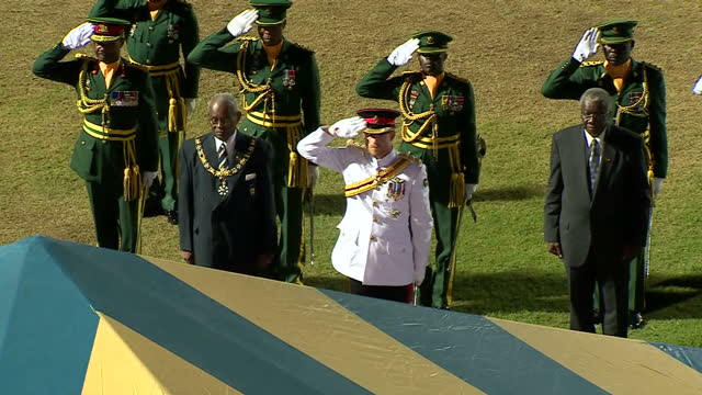 shows exterior night shots prince harry attending military parade dressed in dress uniform reviewing military troops from rear of vehicle saluting... - uniforme video stock e b–roll