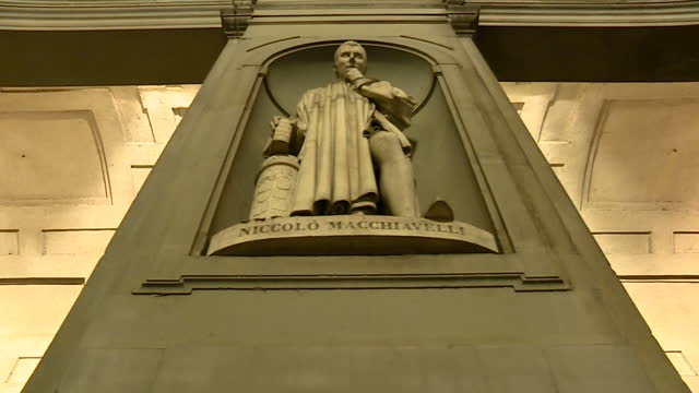 shows exterior night shots statue of niccolo macchiavelli at the uffizi gallery on 21st september 2017 in florence italy - florence italy stock videos and b-roll footage