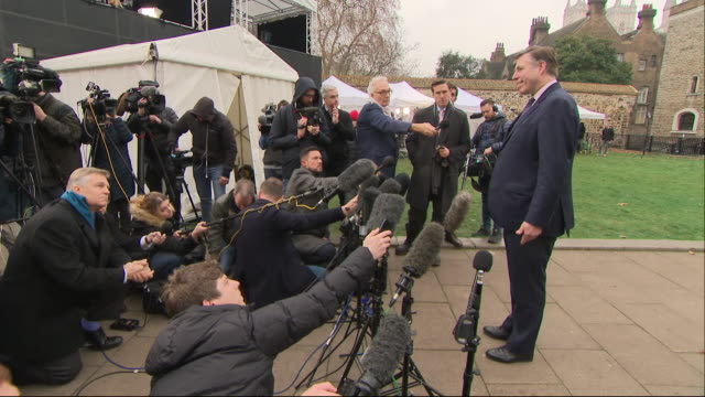 shows exterior shot graham brady mp, chair of the 1922 committee, giving press conference speaking on 48 letters of no confidence submitted by... - shy stock videos & royalty-free footage