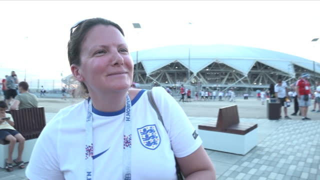 shows exterior shot soundbite from england fan speaking on match win for place in semi-final. england will play croatia in the semi-final of the... - semifinal round stock videos & royalty-free footage