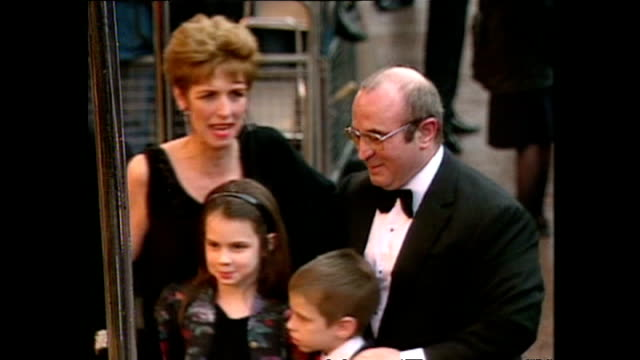 shows exterior shots actor bob hoskins with wife and children arriving for royal premiere of the film 'hook' on april 07 1992 in london england - hook stock videos & royalty-free footage