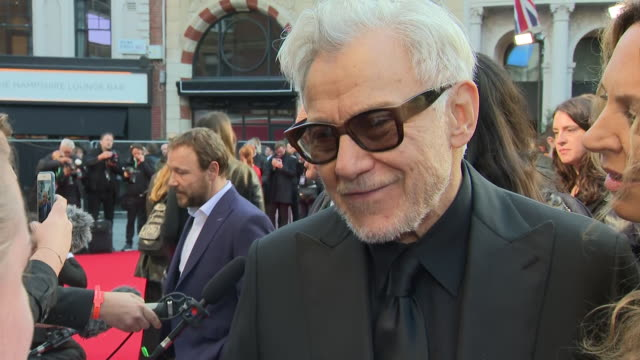 shows exterior shots actor harvey keitel on the red carpet for the bfi's london film festival closing night gala premiere of martin scorsese's filme... - premiere stock-videos und b-roll-filmmaterial