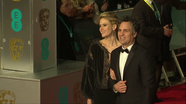 shows exterior shots actor mark ruffalo and actress sunrise coigney posing for photos on red carpet the 2016 baftas film awards ceremony at was held... - mark ruffalo stock videos and b-roll footage