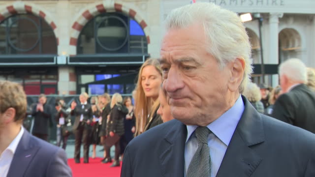 shows exterior shots actor robert de niro on the red carpet for the bfi's london film festival closing night gala premiere of martin scorsese's filme... - premiere stock-videos und b-roll-filmmaterial