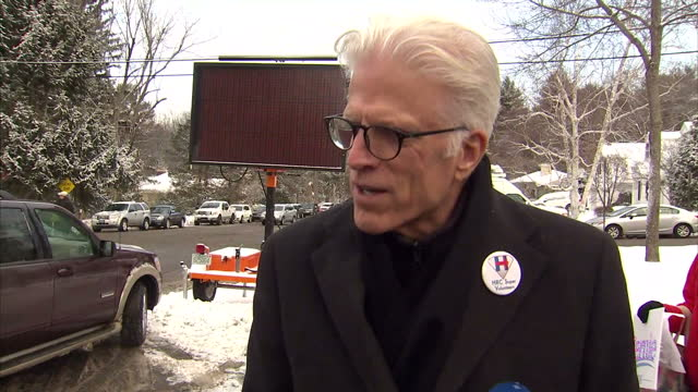 vídeos de stock, filmes e b-roll de shows exterior shots actor ted danson soundbite on supporting hillary clinton's campaign to be nominated as the democrat's presidential candidate... - ted danson