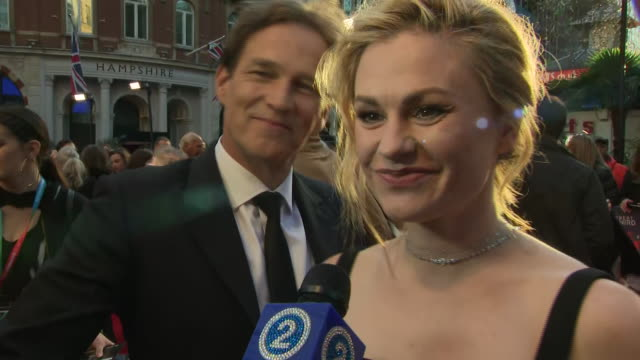 shows exterior shots actress anna paquin on the red carpet for the bfi's london film festival closing night gala premiere of martin scorsese's filme... - premiere stock-videos und b-roll-filmmaterial