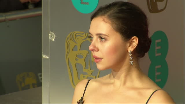 Shows Exterior shots actress Bel Powley posing for photos on red carpet The 2016 BAFTAS Film Awards ceremony at was held at London's Royal Opera...