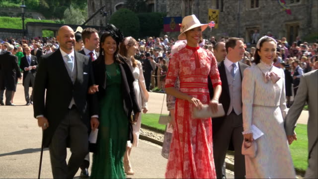 Shows exterior shots actress Gina Torres arriving at St George's Chapel for the wedding of Prince Harry Duke of Sussex and Meghan Markle on the 19th...