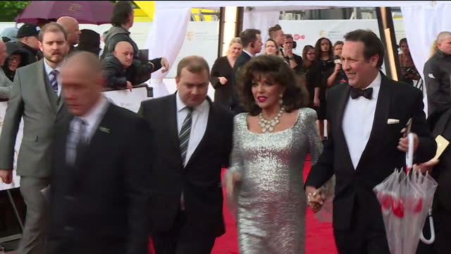 shows exterior shots actress joan collins on red carpet the best of television is honoured at the virgin tv british academy television awards at the... - british academy television awards stock videos & royalty-free footage