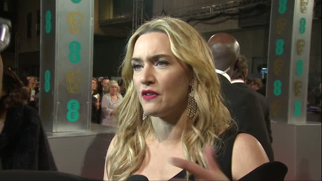 shows exterior shots actress kate winslet being interviewed on red carpet and exterior shots kate winslet hugging and talking to michael fassbender... - kate winslet stock videos and b-roll footage