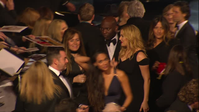 shows exterior shots actress kate winslet signing autographs for fans on red carpet the 2016 baftas film awards ceremony at was held at london's... - kate winslet stock videos and b-roll footage