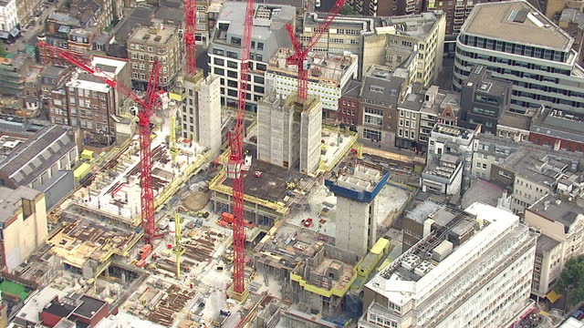 shows exterior shots aerials construction on tottenham court road, stephen street. on august 12, 2015 in london, england. - tottenham court road stock videos & royalty-free footage