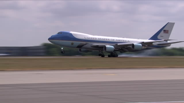 Shows exterior shots Air Force One plane landing at Stansted Airport US President Donald Trump has arrived in Britain for the start of a four day...
