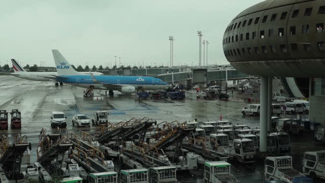 shows exterior shots air planes on the tarmac waiting and taxiing at charles de gaulle airport in paris on may 19 2016 in cairo egypt - charles de gaulle stock videos and b-roll footage